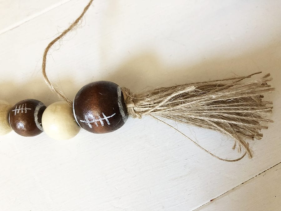 Diy football wood bead garland 1
