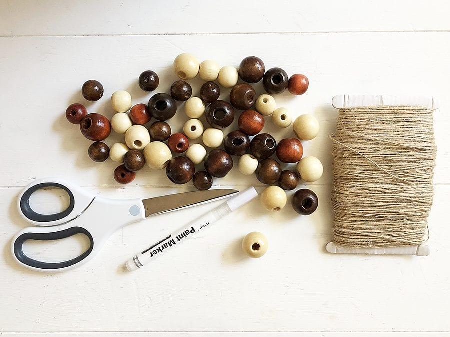 Diy football wood bead garland 9
