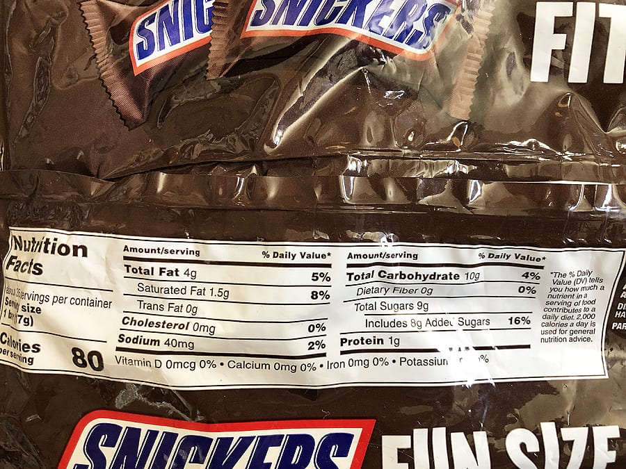 Snickers nutritional info