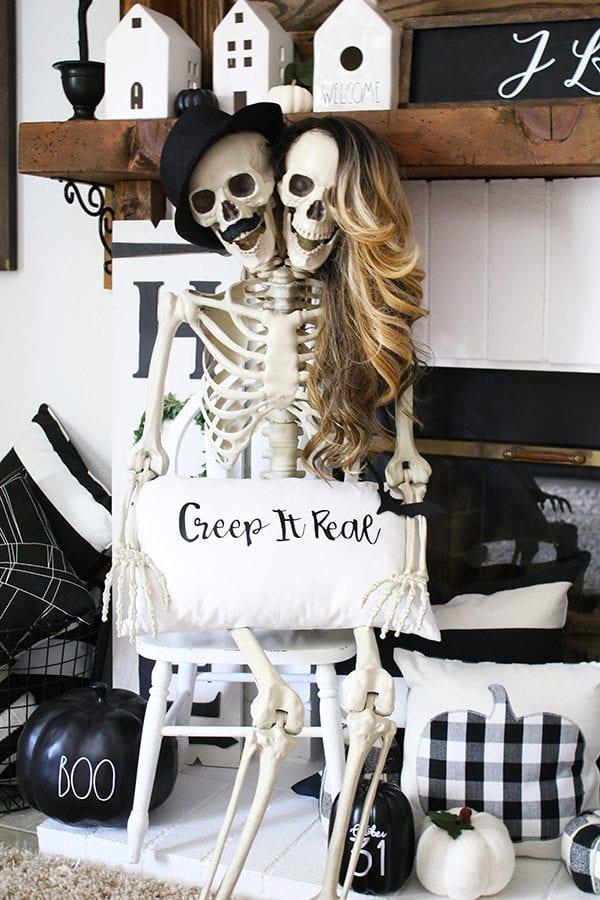 Skeleton day halloween mantle ideas