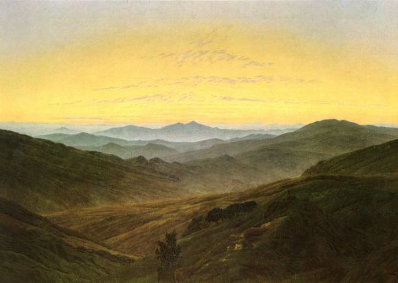 Caspar David FriedrichGiant Mountains (Riesengebirge) / Before sunrise in the mountains