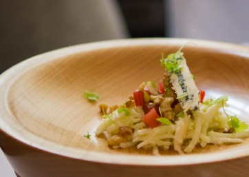Tableside Waldorf: local apple, marinated celery root, candied walnuts, local blue cheese, pickled rhubarb.