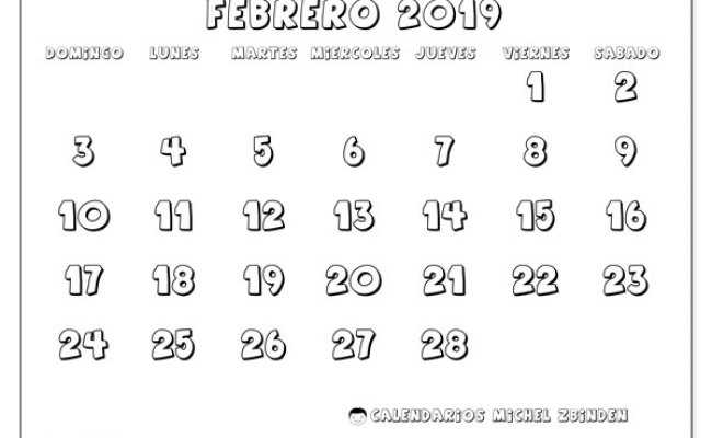 Calendario Febrero 2019 56ds Michel Zbinden Es