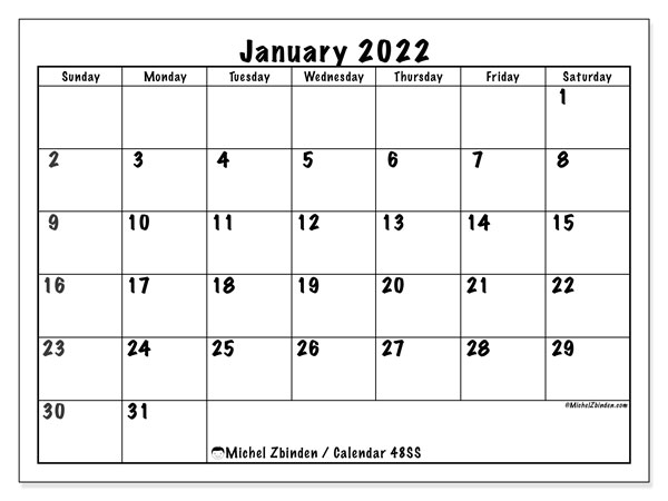 """Download a free, printable calendar for 2021 to keep you organized in style. Printable January 2022 """"48SS"""" Calendar - Michel Zbinden EN"""