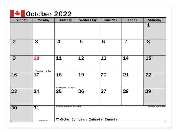 "Printable October 2022 ""Canada"" Calendar - Michel Zbinden EN"