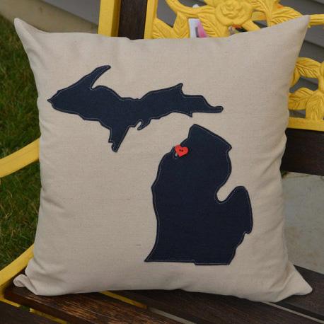 Navy Blue Michigan Pillow  Home Sweet Michigan