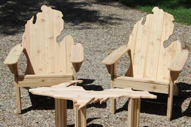 michigan adirondack chair media room chairs and up table picwood usa set shown in red cedar