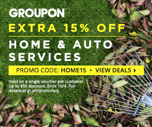 Groupon: 15% off one Local Home or Auto Services Deal Ends 10/4