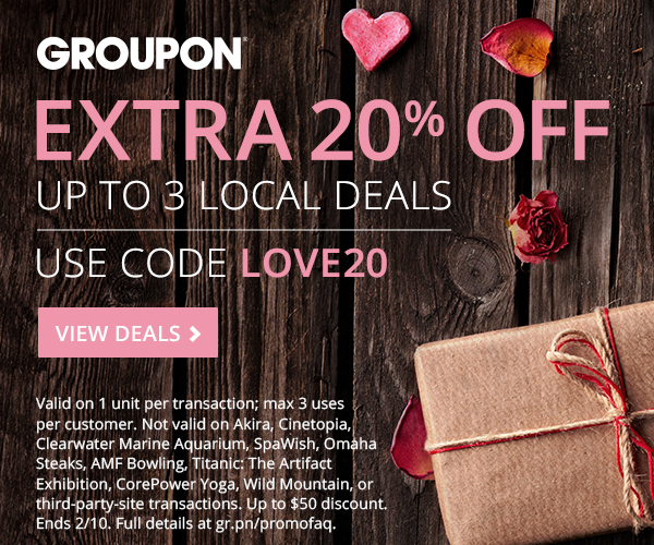 Groupon Valentine's Day Deal: Extra 20% Up to 3 Local Deals Ends 2/10