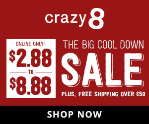 Crazy 8: The Big Cool Down Sale $2.88-$8.88 Ends 8/16/18