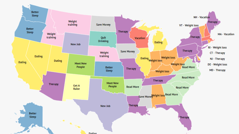 New Year's Resolutions by Each State