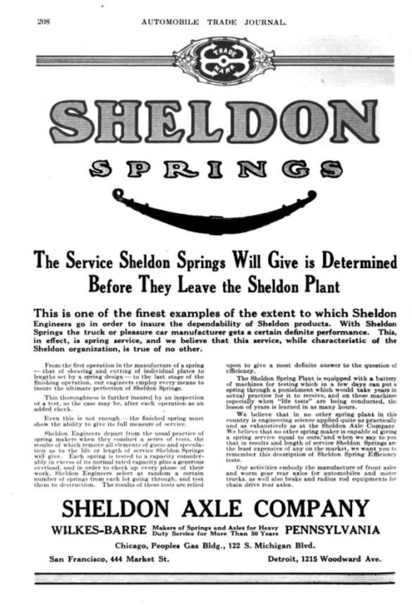 SHELDON trademark at top of advertisement