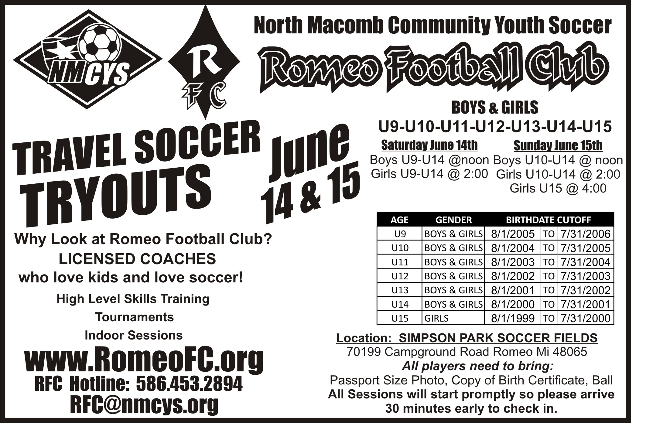 Current Tryout and Open House Listings