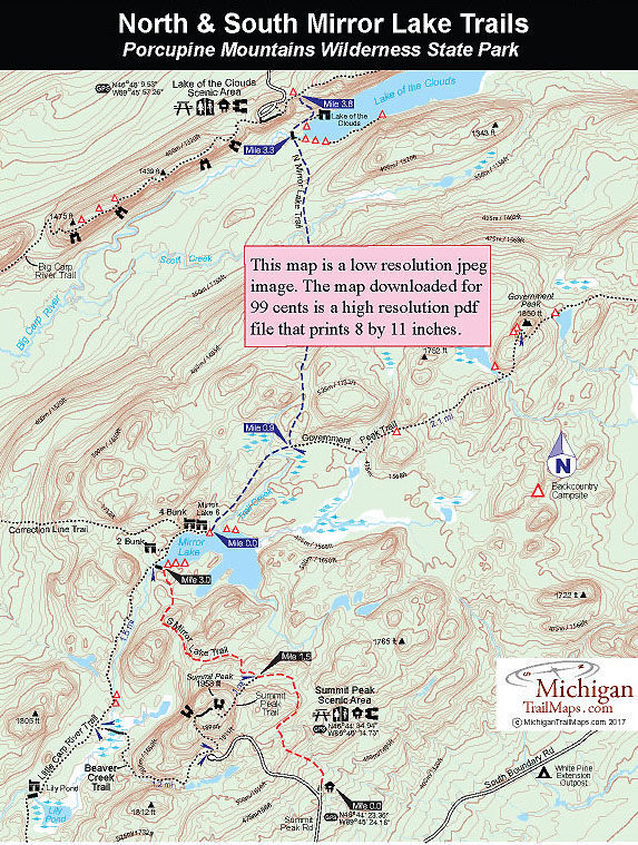 Porcupine Mountains Maps : porcupine, mountains, Porcupine, Mountains:, North, South, Mirror, Trails