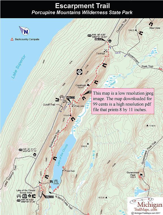 Porcupine Mountains Maps : porcupine, mountains, Porcupine, Mountains:, Escarpment, Trail