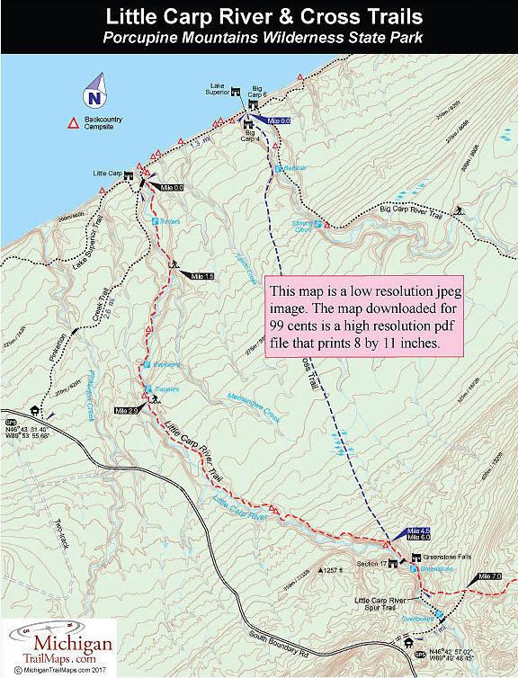 Porcupine Mountains Maps : porcupine, mountains, Porcupine, Mountains:, Cross, Trail