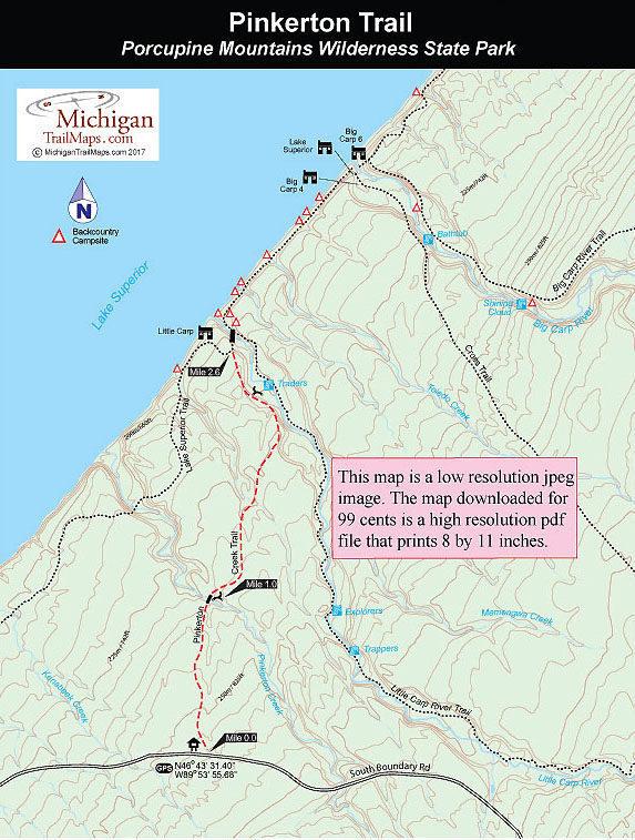 Porcupine Mountains Maps : porcupine, mountains, Porcupine, Mountains:, Pinkerton, Trail