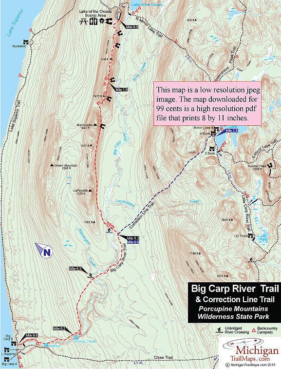 Porcupine Mountains Maps : porcupine, mountains, Porcupine, Mountains:, River, Trail
