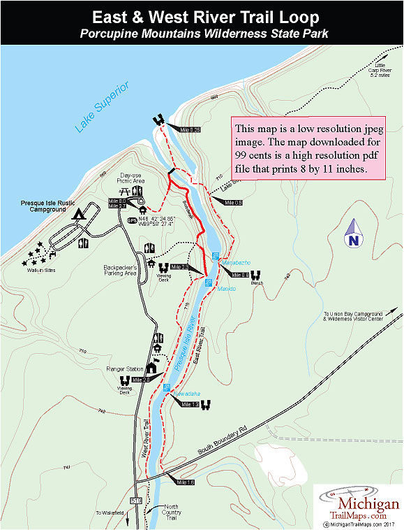 Maps of Porcupine Mountains Wilderness State Park