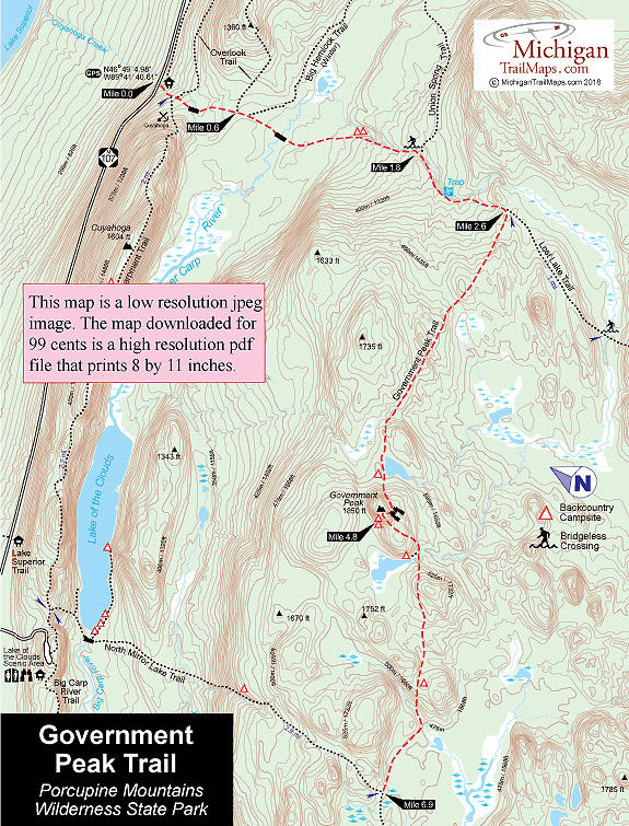 Porcupine Mountains Maps : porcupine, mountains, Porcupine, Mountains:, Government, Trail