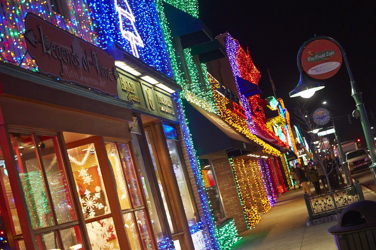 Big, bright light show in Downtown Rochester. Christmas Lights.