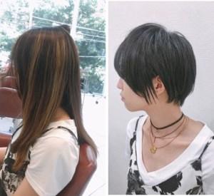 ブリーチメッシュのロング→黒髪ショート