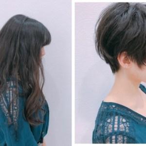 【強いくせ毛】のスーパーロングの方が表参道で、耳出しショートに!!