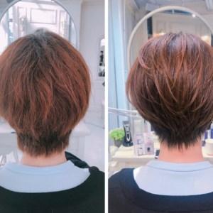 くせと乾燥で広がる。。量が多い方のショートヘアに内巻き縮毛矯正を。