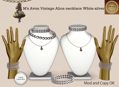 M's Avon Vintage Alice necklaceWhite silver