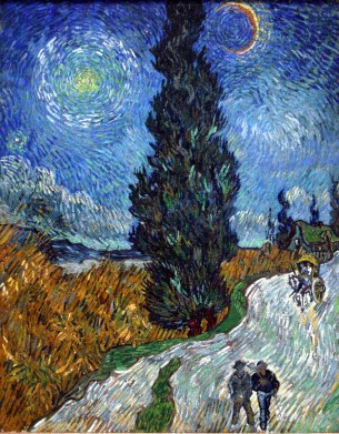 Vincent Van Gogh - Country road in Provence by night (May 1890) (Wikpedia)