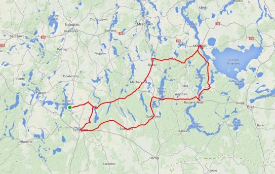 Mapa Mazury - dzień II