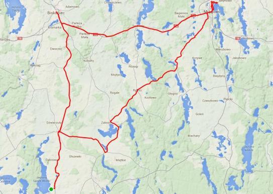 Mapa Mazury - dzień III