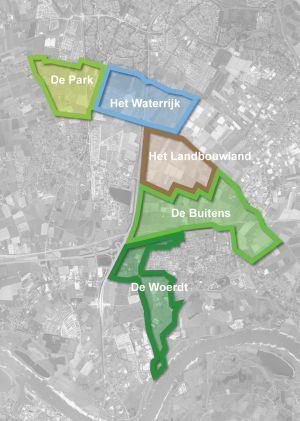 Contouren van het park in regio Arnhem Nijmegen