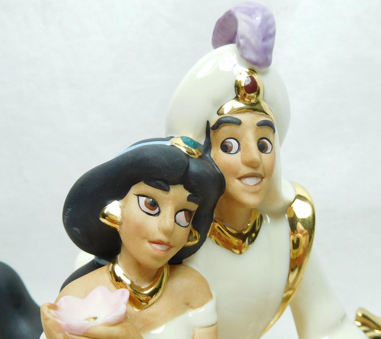 Disney Lenox Porzellan Figur 24k Gold Aladdin  Jasmin 868802 fliegender Teppich  Disney Shop