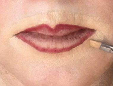 crossdresser makeup procedure for outlining lips with concealer