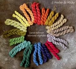 Echevettes de laine mérinos teinture végétale
