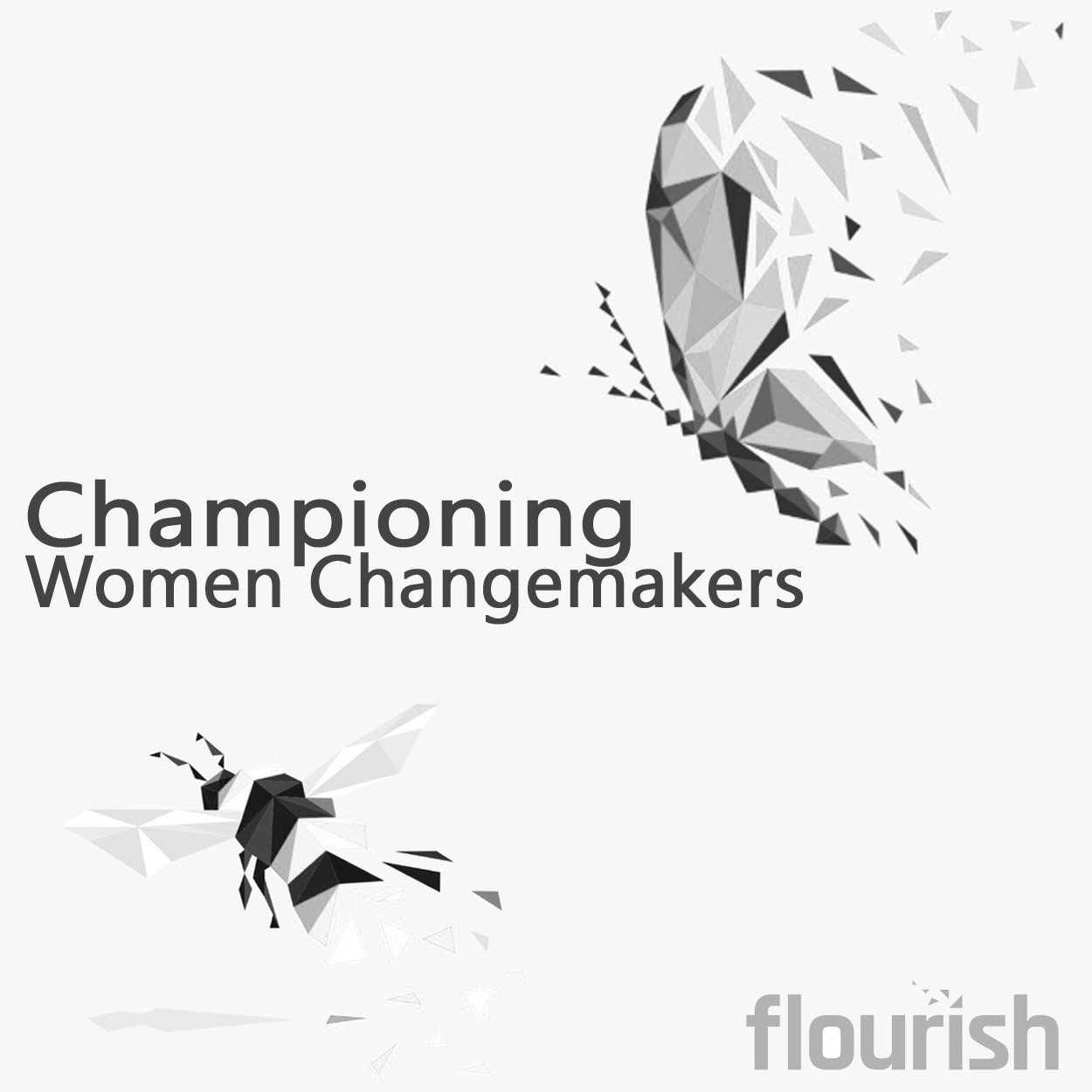 a black and white square image. to the top left is a modern graphic depicting a butterfly, made up of geometric shapes. The bottom left of the square is a bee, graphically designed in the same style of geometric shapes. In the middle and left justified, above the bee is the words 'Championing women changemakers and the bottom right, under the butterfly is a logo. The logo is the word 'Flourish.
