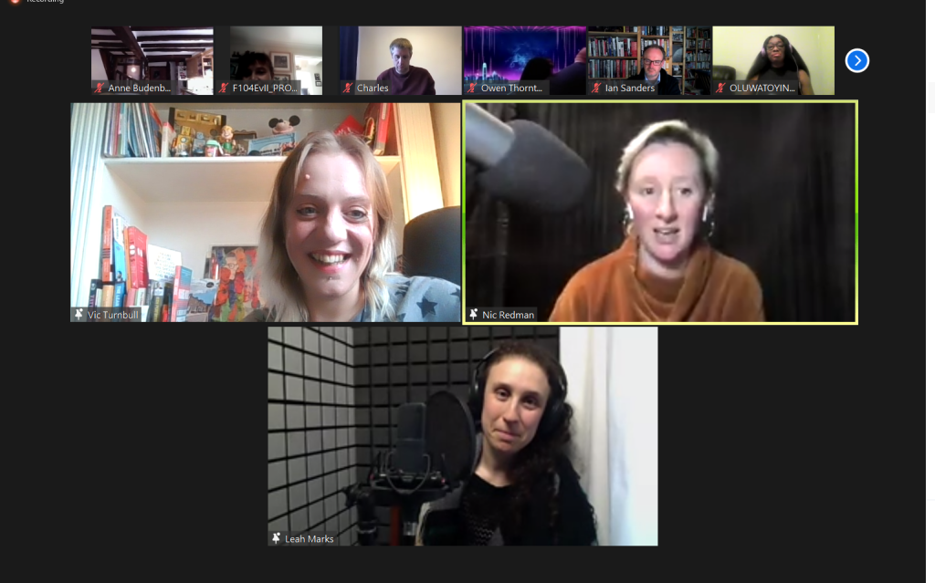 a screenshot from a zoom call. Three frames, in each a woman. Top left a smiling blonde haired woman, ntop right a short blonde haired woman and bottom is a woman smiling with brown hair and wearing headphones.