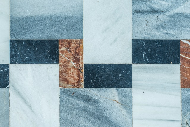blue and brown tiles