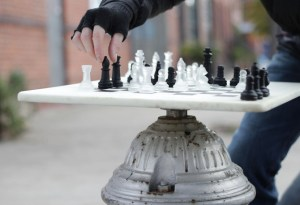 Fire Hydrant Chessboard by Rotten Apple. Swivels. So you can play by yourself.