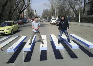 3D DIY crosswalks from Bishkek, Kyrgystan