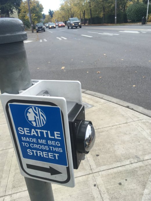 """A sticker to draw attention to crosswalk signal buttons that do not work or take too long to change the signal. @SDOTransformation """"Adhesive Adherents: 1. Only sticker btns if: no push==no light 2. Moles inside SDOT say: stickers on post endure the most  #GivePedsTheGreen https://t.co/tvYBmYhAa3"""""""