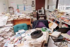 980706SL  3/3  Dr. Donald B. Louria, Chairman of the Department of Preventative Medicine and Community Health, in his cluttered office at UMDNJ in Newark. He has discovered that immune system suppressor CD8 cells secrete substances that control the growth of the AIDS virus. 7/6/98 NJNP Photo/Scott Lituchy