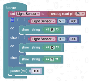 microbit Light Sensor example code