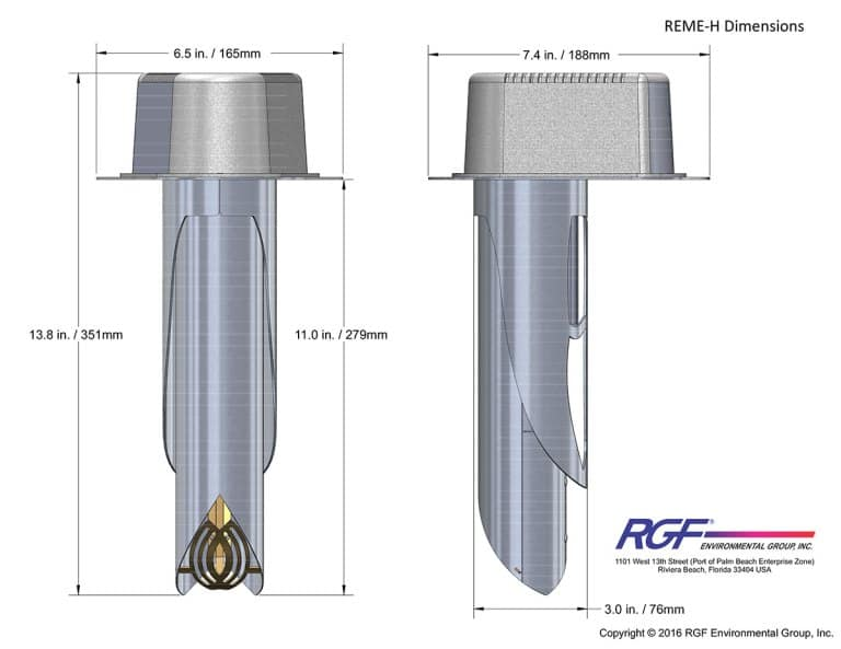 RGF® REME HALO® Whole-Home In-Duct Air Purifier Dimensions