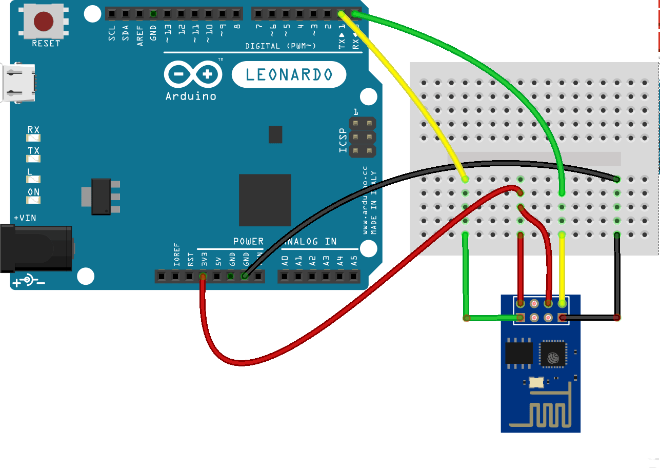 hight resolution of esp8266 attached to an arduino leonardo wi fi esp8266 arduino wiring esp8266 fritzing diagram