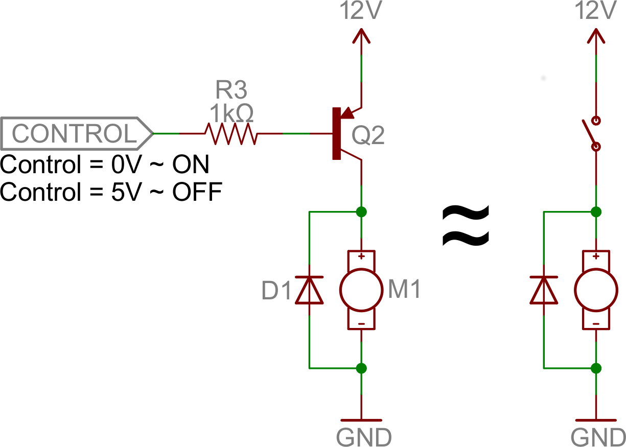 Transistor as a swith motor control example off condition