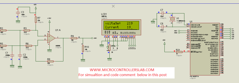 Alternating voltage measurement circuit diagram