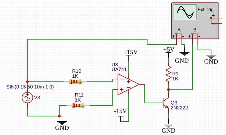 zero crossing detection circuit using 741 op amp as a inverting comparator