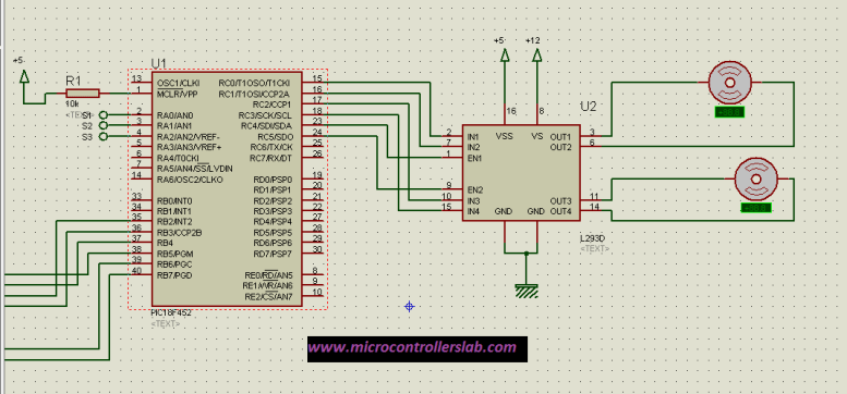 Motor driver IC L293D interfacing with microcontroller